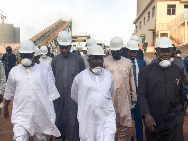 L – R: Abubakar Bawa Bwari, Hon. Minister of State for Solid Minerals Development;  Ibrahim Aminu, Managing Director, CCNN Plc; Kabiru Rabiu, Group Executive Director, BUA Group; Abdulsamad Rabiu, Executive Chairman, BUA Group & Chairman CCNN PLC; Dr. Kayode Fayemi, Hon. Minister for Solid Minerals Development during a high-level working visit to BUA Group's Cement Subsidiary, CCNN Sokoto Cement plant yesterday