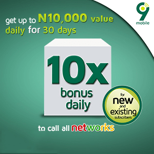 get up to N10,000 value daily for 30days