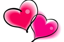 two pink valentines day hearts