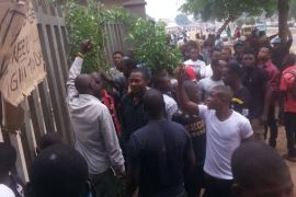 Protesters at AEDC office