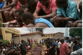 suspects paraded by police