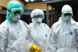 ebola aid workers in hasmat suits