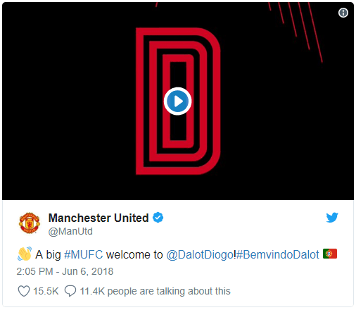 Screenshot of Manchester United Tweet