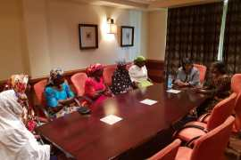 Former Mauritius President meeting with parents of yet to be released Chibok and Dapchi girls' parents in Lagos