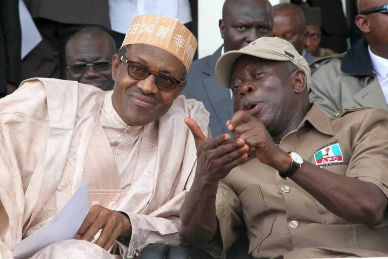 APC Chairman, Oshiomhole and President Buhari