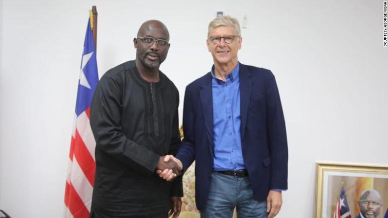 Arsenal Wenger and George Weah