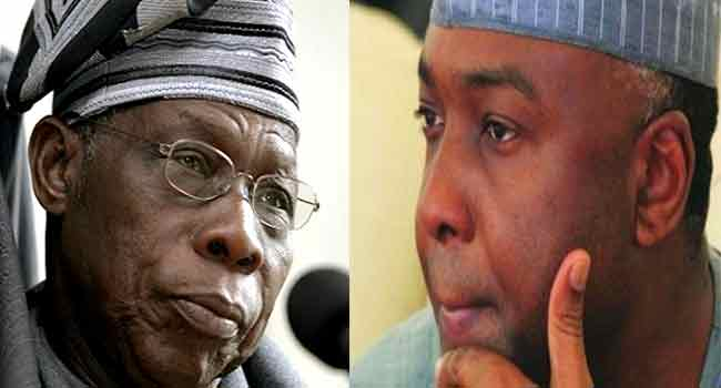 Image result for Saraki in a closed-door meeting with Obasanjo