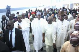 Buhari at Port Harcourt Airport Terminal