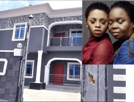 Chidinma and mum with mansion