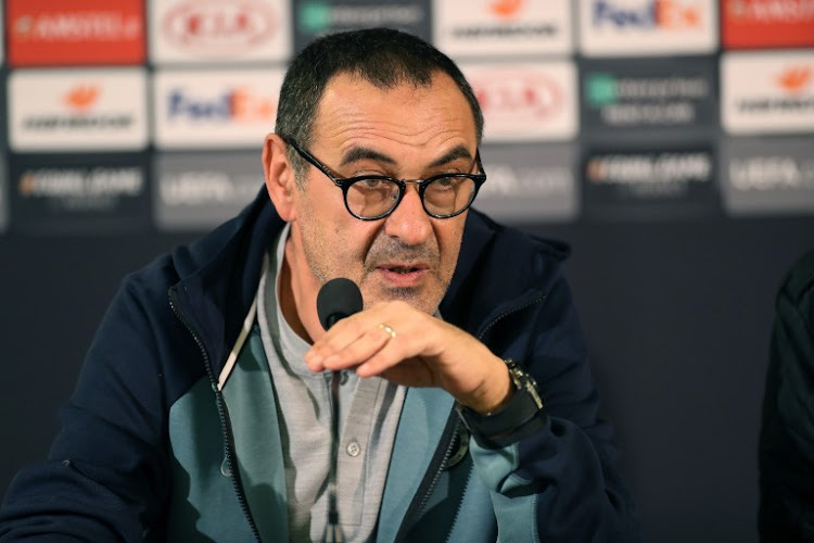 Chelsea's manager Maurizio Sarri speaks during a press conference in Malmo, Sweden, on February 13, 2019 one day ahead of the Europa League first leg football match between Malmo FF and Chelsea. (Photo by Andreas HILLERGREN / TT NEWS AGENCY / AFP) / Sweden OUT