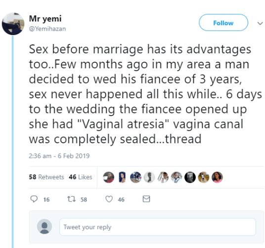 Twitter man defends sex before marriage by sharing heartbreaking story of couple who broke up days to their wedding