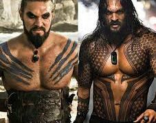 Momoa as Khal Drogo and Aquaman with the beard