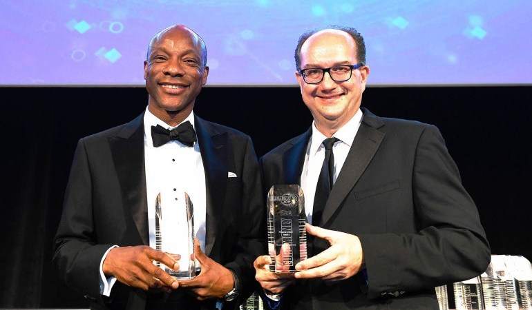 Segun Agbaje, CEO GTBank receiving the awards for Africa's Best Bank and Nigeria's Best Bank at the Euromoney Awards held at the London Hilton Hotel, Park Lane on Wednesday, 10th July, 2019