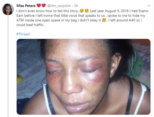 Lady narrates how her menses saved her from being raped by one chance criminals in Lagos