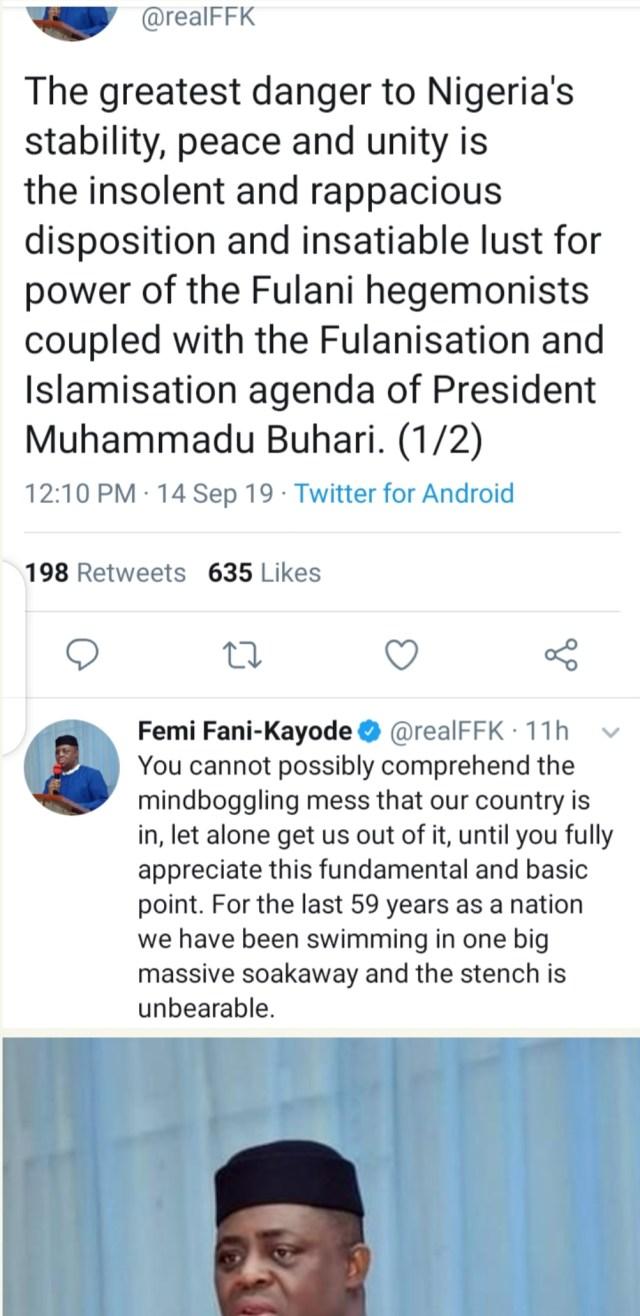 Femi Fani-Kayode's tweet