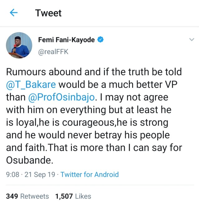 """Tunde Bakare would be a much better VP than Osinbajo"" -Femi Fani-Kayode"