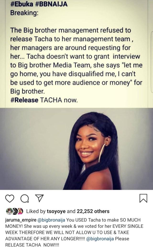 bbnaija-management-team-holds-tacha-disqualifying