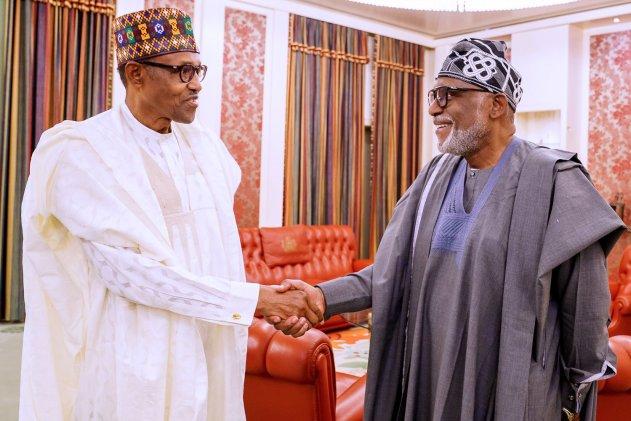 Amotekun: Buhari welcomes Akeredolu in Aso Rock (Photos)