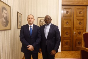 Rumen Radev, President of Bulgaria and Adesola Adeduntan, Chief Executive Officer, First Bank of Nigeria Limited following a courtesy visit by Dr. Adeduntan to the Bulgarian President at Sofia, Bulgaria.