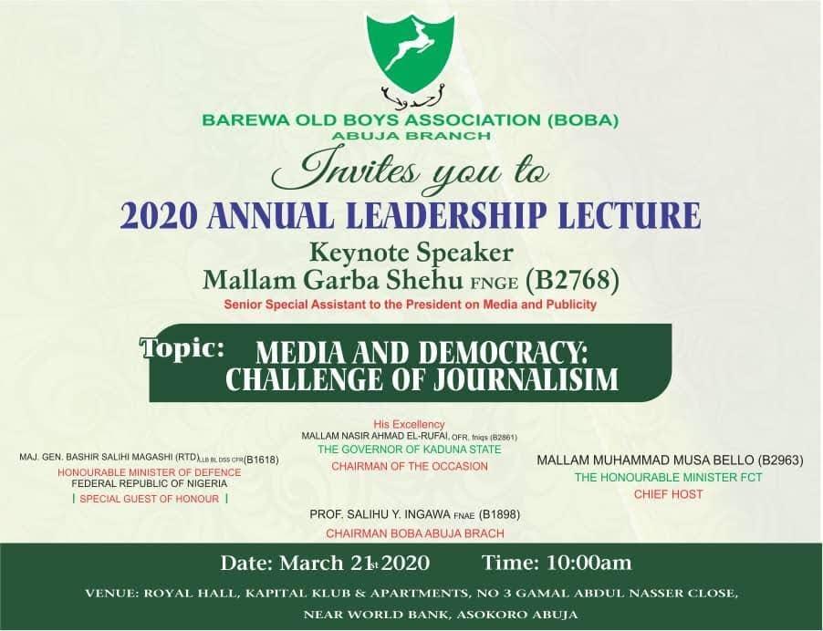 Garba Shehu promotes Barewa College reunion in Abuja