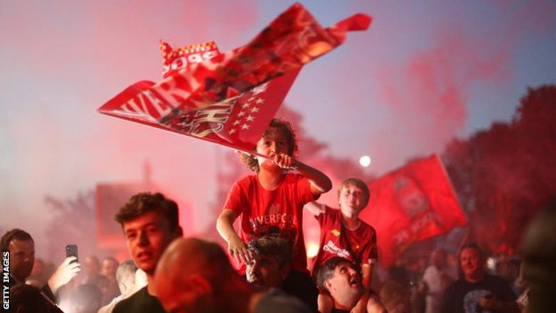 Liverpool Fans Celebrate title win at Anfield