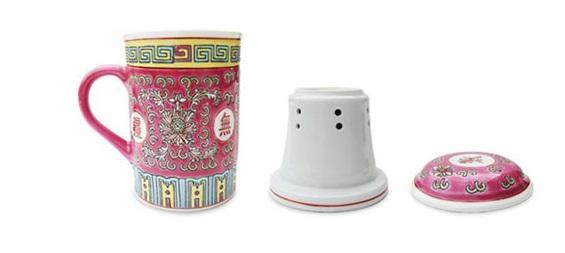 tasse a tisane en ceramique avec couvercle et filtre