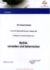 Teilnahme Schulung MySQL