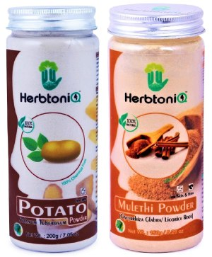 HerbtoniQ Natural Potato Powder And Mulethi (Licorice) Powder For Face Pack (350g) 2 Pieces