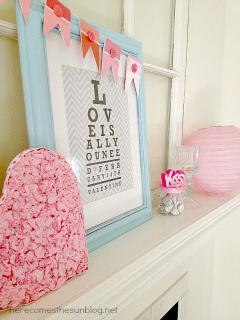 Aqua and Pink Valentine Mantel - Her total cost to put together this darling Aqua and Pink Mantel was $1.59! | Here Comes the Sun