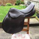 "Ideal GP 18"" medium brown leather saddle."