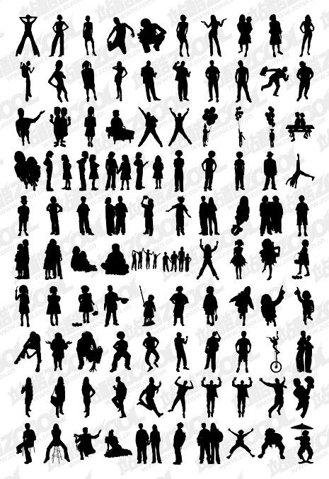 1000-Album, das verschiedene silhouette vektor Material-4