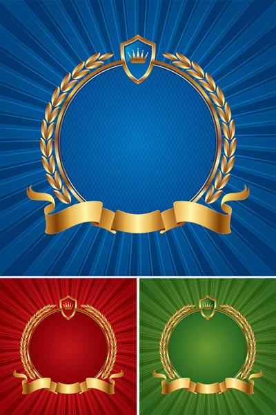 Perisai emas pita pesan utama dari Eropa gandum latar