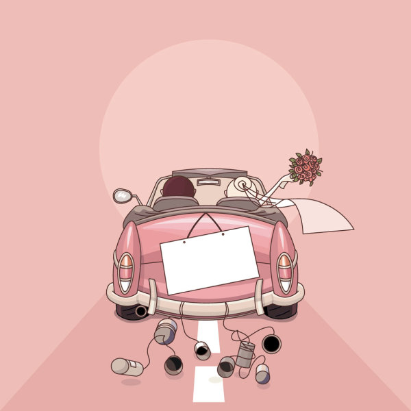 Palabras clave dibujos animados estilo boda elementos