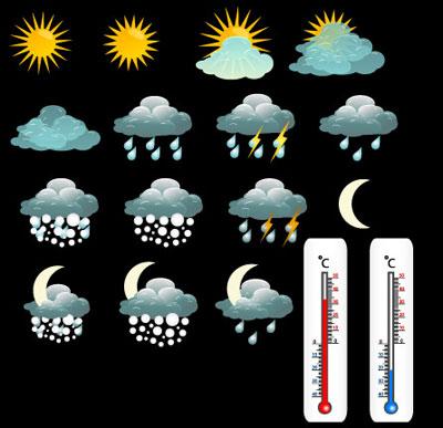 Palabras clave fina clima iconos nubes sol lluvia nieve Luna rayo termmetro vector de