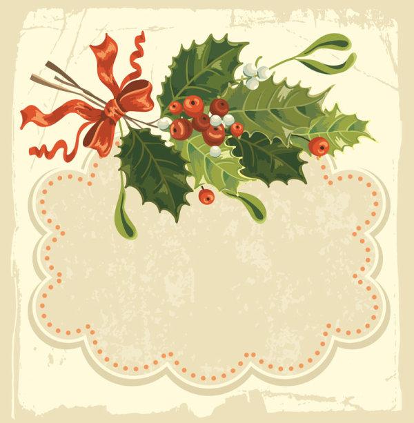 Kata kunci indah Natal latar belakang pita label Natal buah salam kartu merah vektor