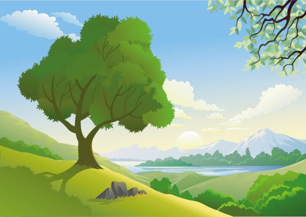 Palabras clave hermosos paisajes natural fresco vector montaa agua rboles piedra Free
