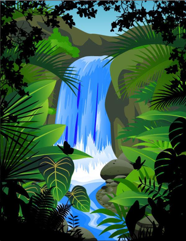 Klov slova Kreslen animace ilustrace vodopdy rostliny zelen listy vektorov