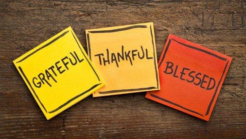 National Gratitude Month sticky notes