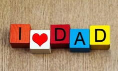 I Heart Dad spelled with blocks