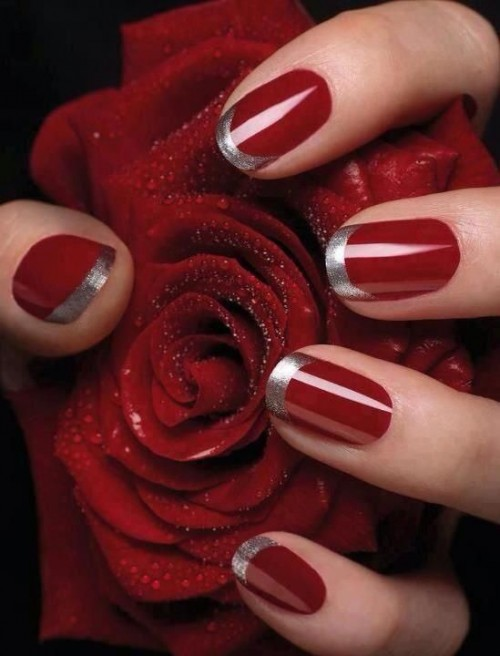 Red And White French Tip Nails