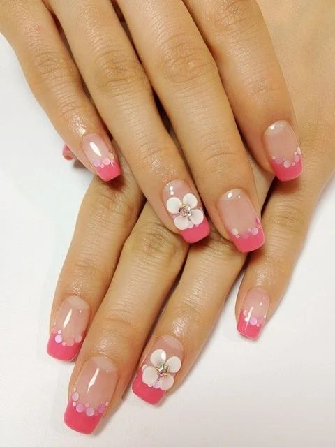 Cute French With Flower Design Tip Nail 27
