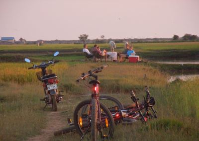 Cycling countryside sunset rice field