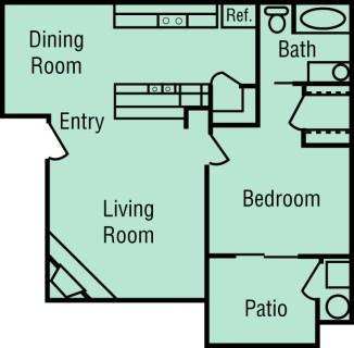 1 Bed / 1 Bath / 687 sq ft / Deposit: $400 / 1245-1295