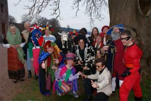 some of the competitors and guests at the Feast of Fools held at Muncaster Castle on Wednesday 1st April.