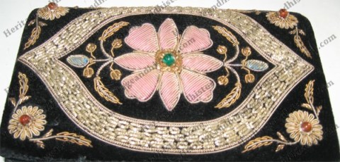 Goldwork on velvet purse