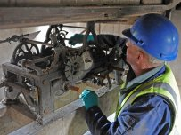 Checking the Lowther clock mechanisms. Pic Val Corbett/Lowther Gardens