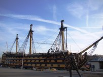With her topmasts are down, Victory looks much as she did after the Battle of Trafalgar. Pic - Portsmouth Historic Dockyard