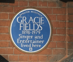 Dame Gracie Fields (1898-1979) - is honoured with a blue plaque at 72a Upper Street, Islington,