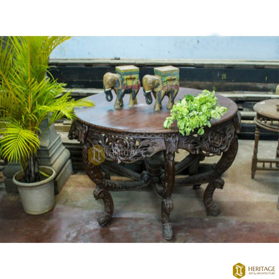 six legged round coffee table antique