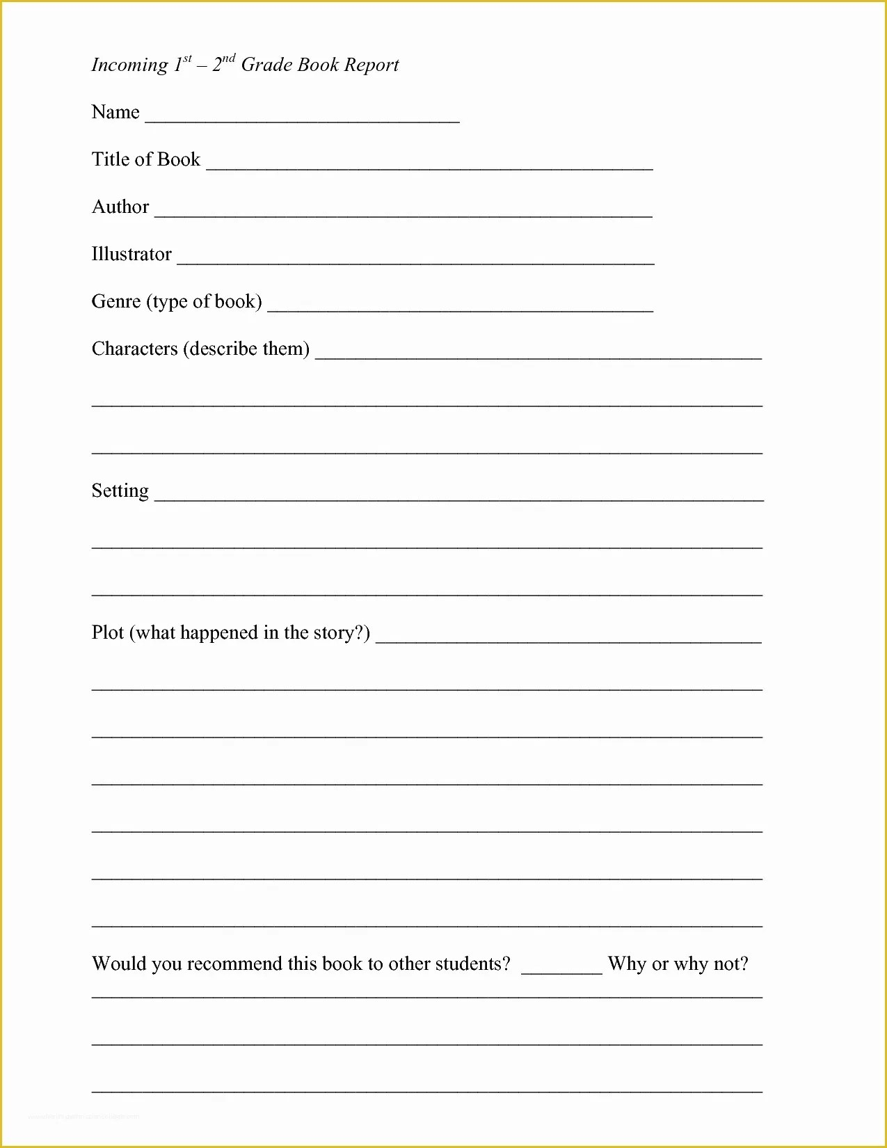 2nd Grade Book Report Template Free Of Book Summary